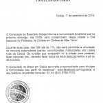 Documento do Consulado Brasileiro avisando do fechamento da fronteira