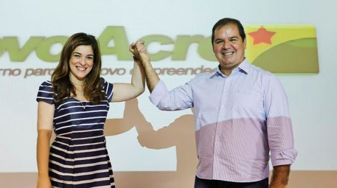 Nazaré Araújo e Sebastião Viana durante a apresentação da nova logomarca do governo. (Foto Sergio Vale)