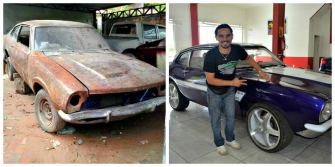 Sonho de Jerry Lee era ter um veículo modelo Maverick (Foto: Arquivo pessoal e Vanísia Nery)