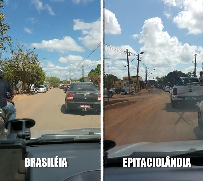 Fotos de celulares mostram a enorme fila de veículos nos dois lados.