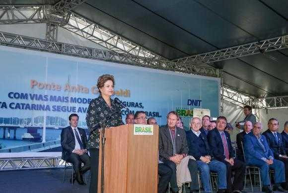 Presidenta Dilma Rousseff durante Cerimônia de Inauguração da Ponte Anita Garibaldi Roberto Stuckert Filho/PR