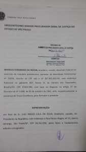 Protocolo da denúncia contra o ex-presidente Lula ao Ministério Público de São Paulo
