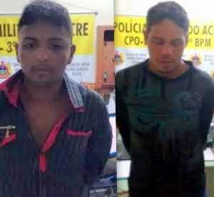 A polícia prendeu os dois assaltantes poucos minutos após eles empreenderem fuga /Foto: Cedida