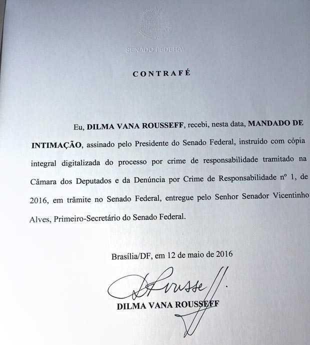 Notificação de afastamento assinada por Dilma Rosseff nesta quinta (12)
