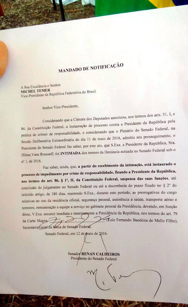 Documento de posse de Michel Temer como presidente interino