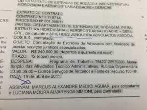A famosa banca de advogados de Aristides Junqueira foi uma das contratadas pela Deracrepara defender Marcus Alexandre