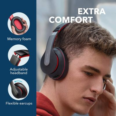 Anker Soundcore Life Q10 Wireless Bluetooth Over Ear Headphoneswith 60-Hour Playtime and Fast USB-C Charging