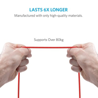 Anker PowerLine+ 6ft Lightning – Red (No Pouch)