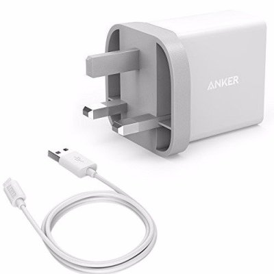 Anker 24W 2-Port USB Wall Charger UK White & 3ft micro USB Cable White