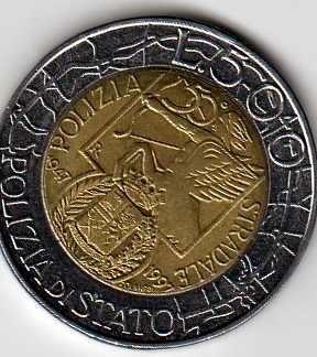 Italia 500 lire Polizia di Stato - 1997