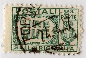 Pacchi postali 1946 2 Lire
