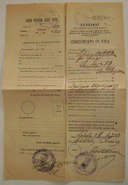 CERTIFICATO DI VITA - 1923