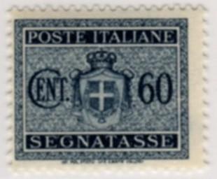 Segnatasse stemma senza fasci, filigrana ruota 1945