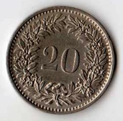 SVIZZERA 20 CENTESIMI - 1971