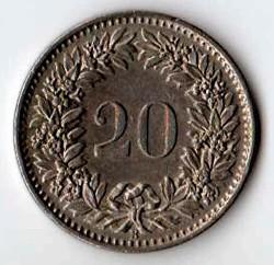 SVIZZERA 20 CENTESIMI - 1968