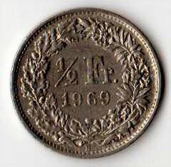 SVIZZERA 1/2 FRANCO - 1969