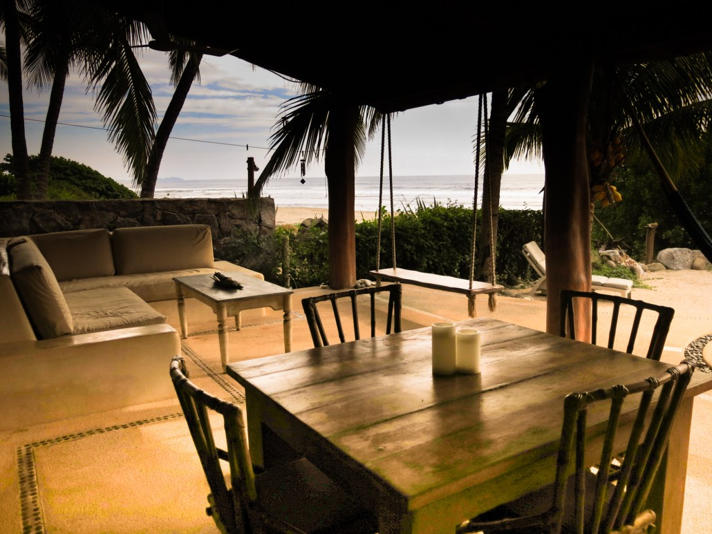 Beachfront patio of Troncones vacation rental for sale