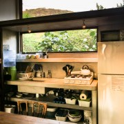 Treehouse kitchenette with jungle views