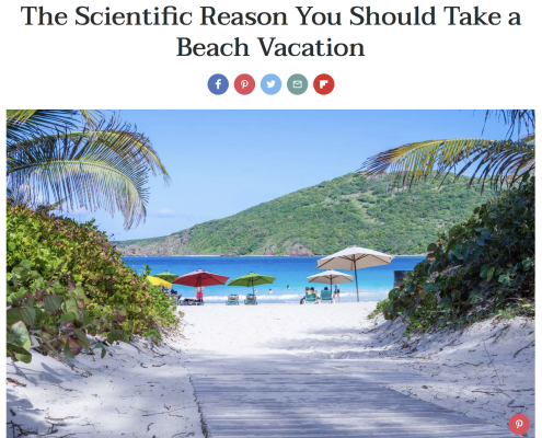 Image of article about the scientific reasons beach vacations are good for you.