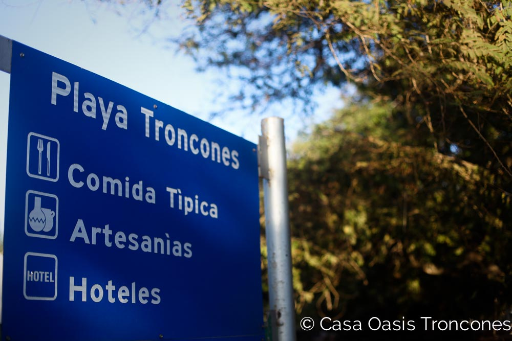 The official Troncones tourism sign, and our Travel guide mascot