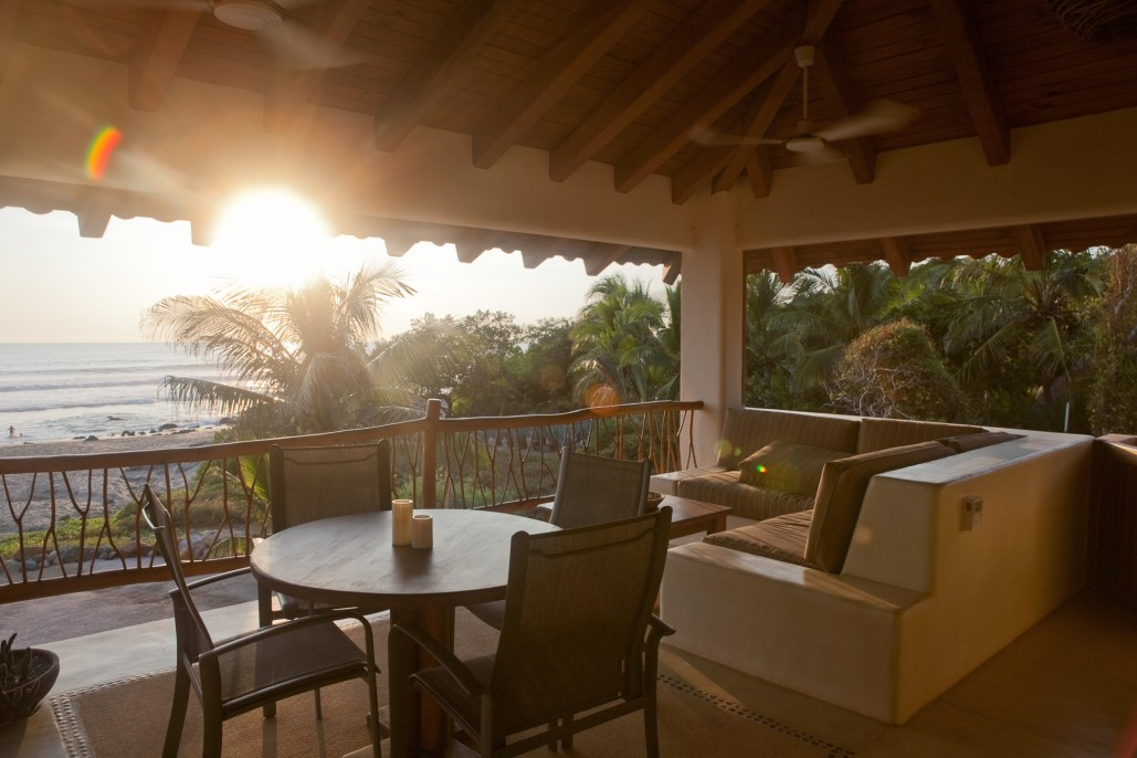 Casa Oasis Troncones beachfront vacation rental Penthouse living area with late afternoon sun