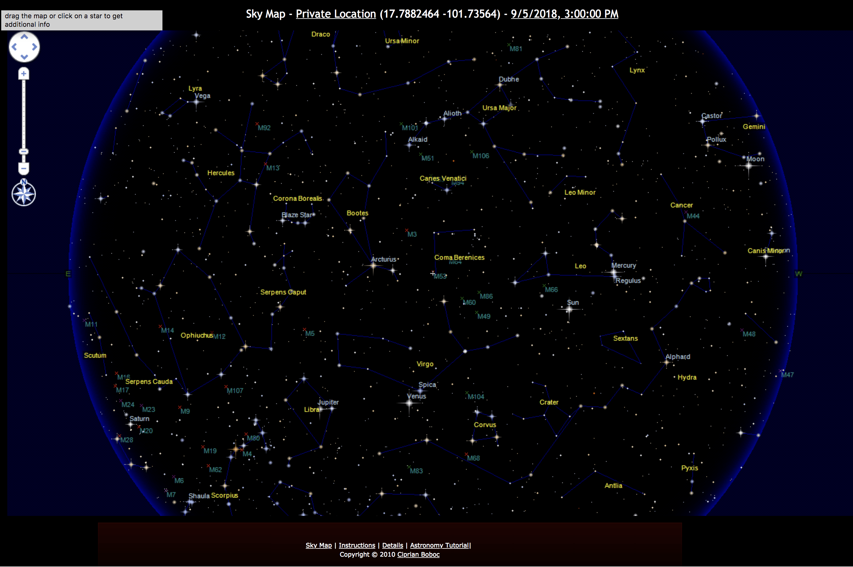 Sky map of stars and constellations above Troncones