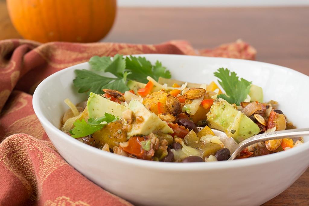 Pumpkin Black Bean Chili in bowl