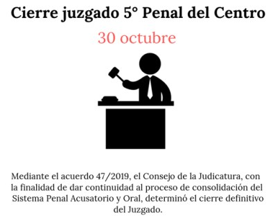 Concluye funciones el 30 de octubre el juzgado quinto penal