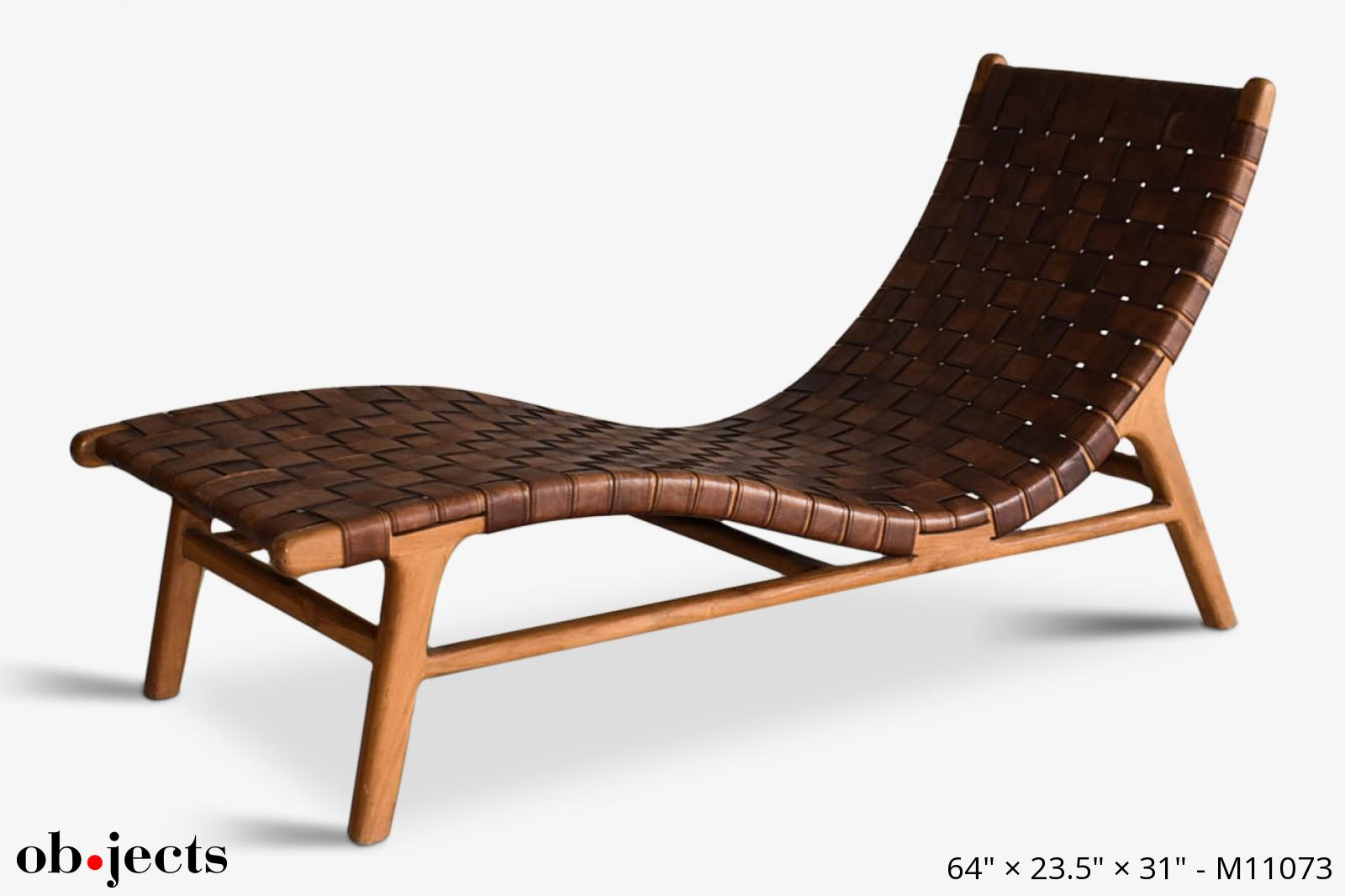chaise lounge brown leather woven ob