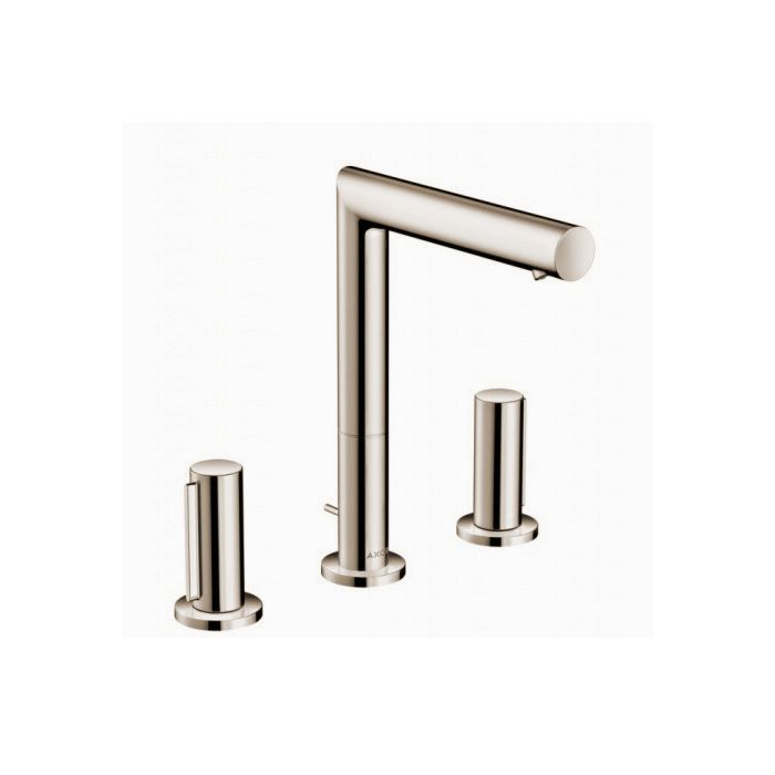 axor uno 3 hole sink tap 45133820 brushed nickel with zero handle with pop up waste