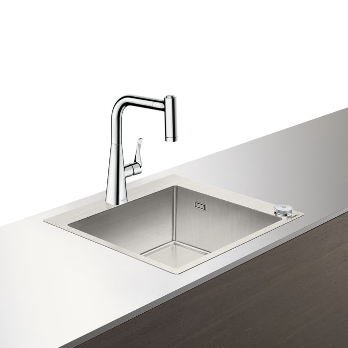 hansgrohe select c71 f450 01 sink combo 43207800 stainless steel look with sbox 1 main bowl