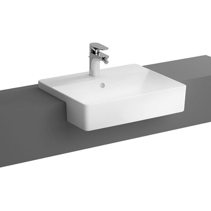 vitra options semi built in washbasin 7433b003 0001 55x44x12 5cm rectangular white with central tap hole with overflow