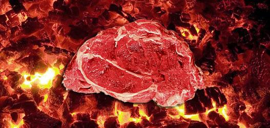 imagem da carne no carvão