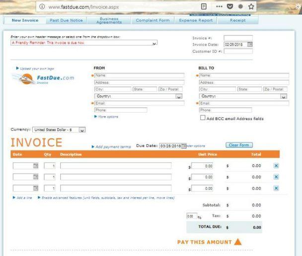 Fastdue invoice creation tool
