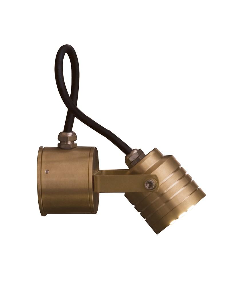 garden zone elite led outdoor multi directional spot light in solid natural brass