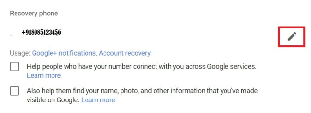 change mobile number on gmail account