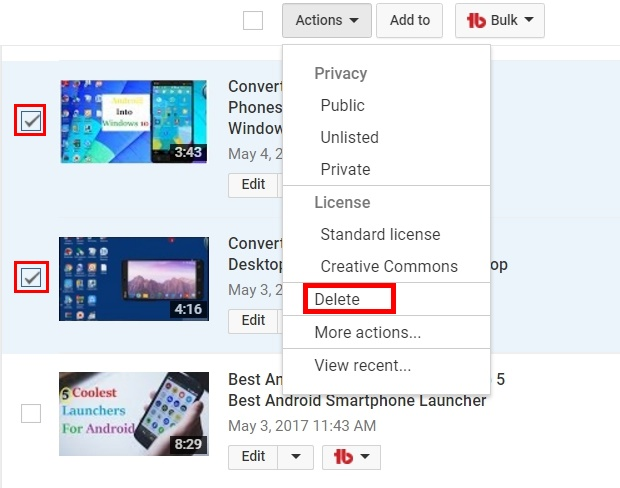 delete youtube channel videos in few seconds