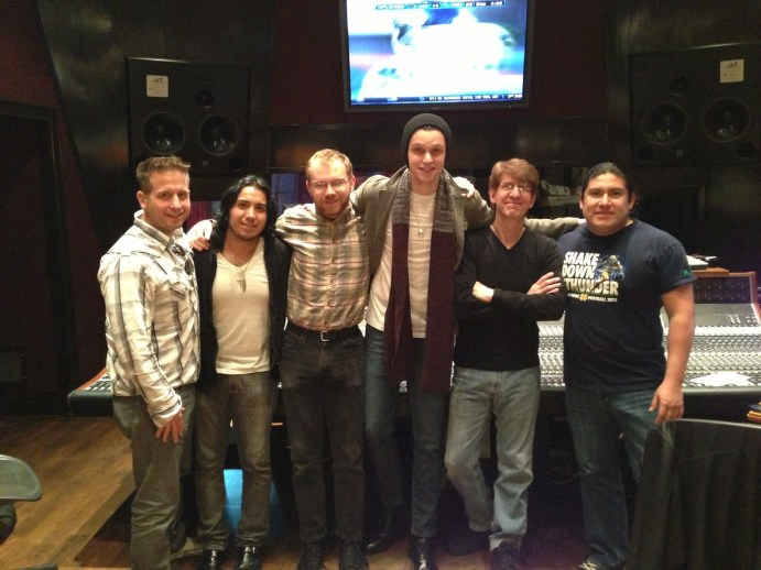 Obie, JC Monterrosa, Patrick and the band Obie and Patrick at the board, recording in Studio D at Blackbird Studios in Nashville, TN