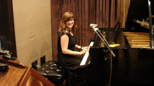 Katie on piano recording in Studio D at Blackbird Studios, Nashville TN