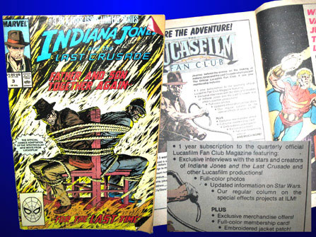 A Lucasfilm Fan Club ad in Marvel's comic book adaptation of 1989's blockbuster Indiana Jones and the Last Crusade. Inconspicuously, a single Star Wars reference amidst all the whip cracking keeps hope (and membership numbers) afloat.