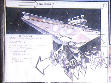 "Storyboard of th e introductory animation for LucasArts' ""X-WING - A Space Combat Simulator"""