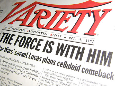 "Andy Marx's and Max Alexander's Variety cover story from October 4th, 1993: ""The Force is with him - Star Wars savant George Lucas plans celluloid comeback"""