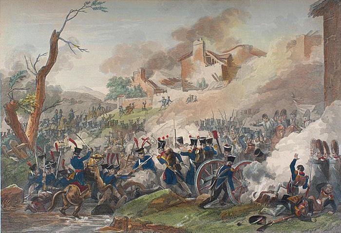 . Битва народов под Лейпцигом. Раскрашенная гравюра Пьера-Адриена Лебо по рисунку Томаса Чарльза Науде, до 1817 года