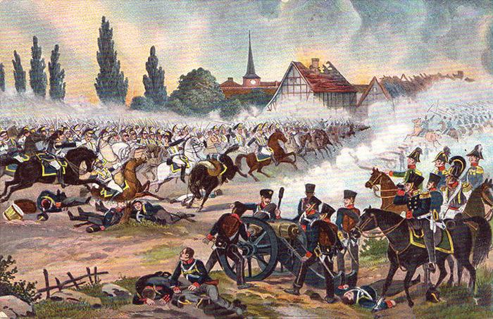 Открытка «Битва при Вахау 16 октября 1813 года», первая половина XIX века