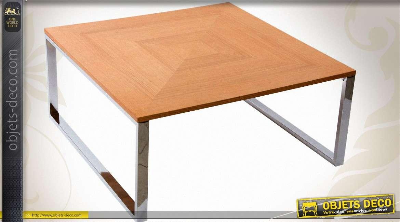table basse carree design 90 x 90 en bois et metal chrome