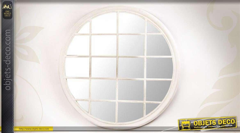 Miroir Fenetre Ronde A Carreaux Rond Blanc Vieilli O 120 Cm