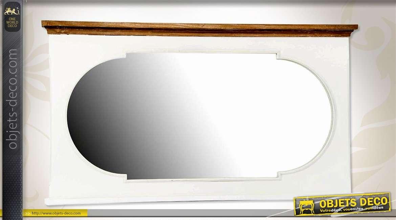 miroir horizontal style retro en bois finition bicolore 105 cm