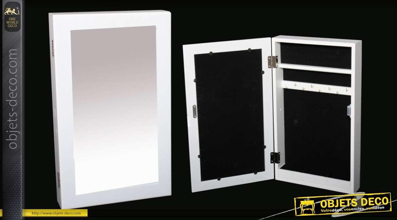 Miroir Mural Range Bijoux Coloris Blanc Style Moderne 50 Cm