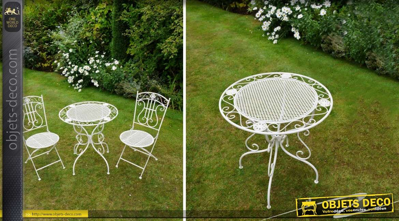 salon de jardin fer forge romantique blanc antique 2 places