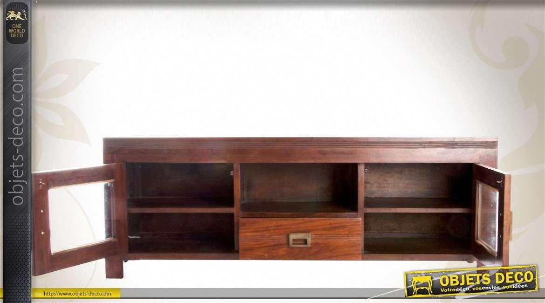 meuble tv retro acajou medium avec 2 portes et 1 tiroir